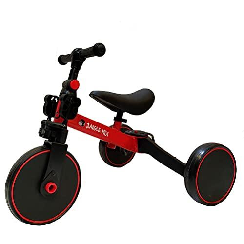 BIWOND - Triciclo Jungle Mix (3 modalità; deambulatore, triciclo e bicicletta, ruote ampie, manubrio antiscivolo, pedali removibili, diverse posizioni) - rosso