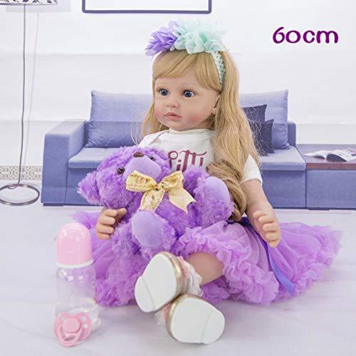 Dyujn Bambole Reborn 24 Pollici 60 cm Realistico Baby Dolls Bambino Morbido Silicone Vinile Simulazione Realistico Bambole Reborn Morbido Reborn Dolls Toddler Babies Bambola Regalo Giocattoli (7#)