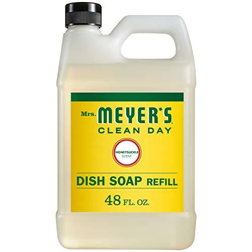 Mrs. Meyer's Clean Day Liquid Dish Soap Refill, Cruelty Free Formula, Honeysuckle Scent, 48 oz