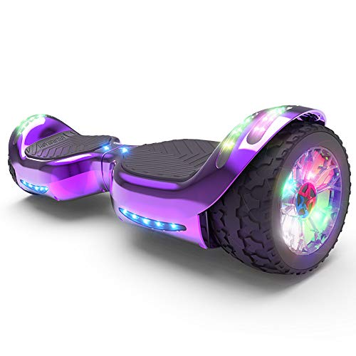 HOVERSTAR Hoverboard All-Terrain LED Flash Wheel with Bluetooth Speaker LED Light Self Balancing Wheel Electric Scooter (Chrome Purple)