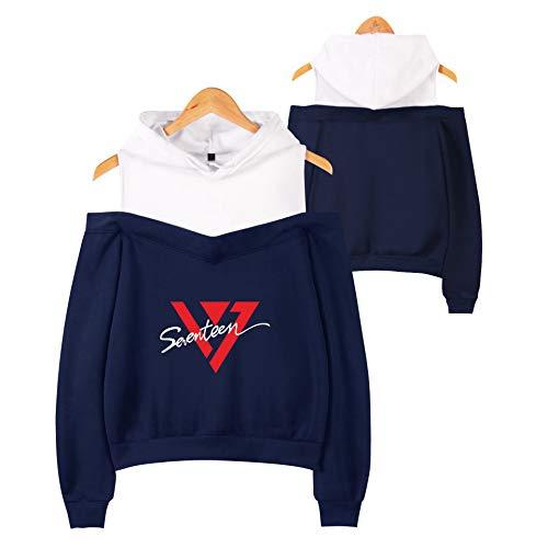 TONGS Suéter Hip Hop SEVENTEEN Impreso Camisa de Entrenamiento Casual Suelto sin Tirantes Capucha por Mujer Y Chicas Sencillo Casual/Azul/S