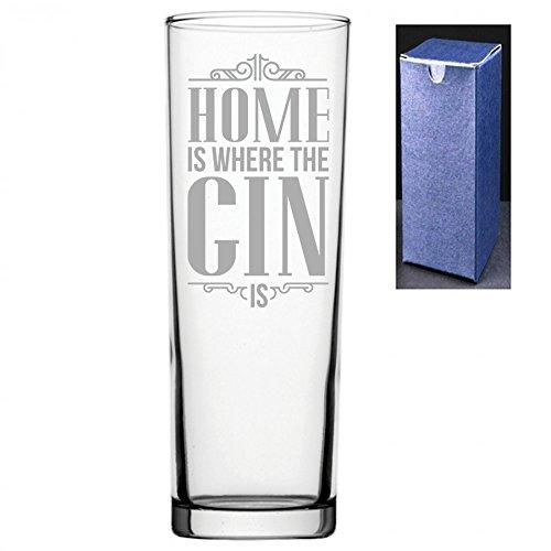 Novedad grabado/impreso Tubo vasos altos Gin y Tonic Vodka cristal–el hogar es donde la ginebra es Do Not Engrave A Message On The Reverse Side Engraved