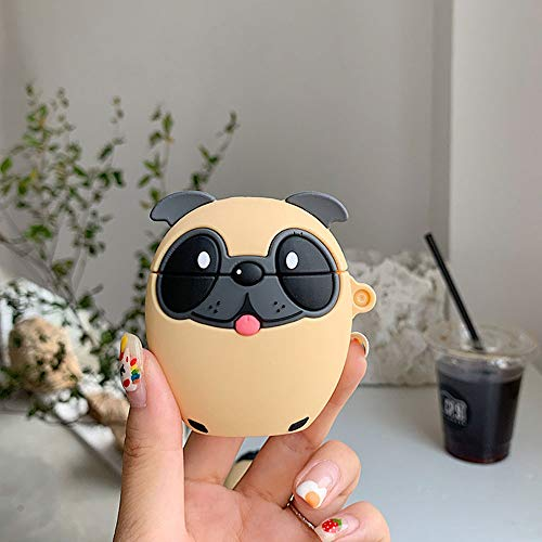 ICI-Rencontrer 3D Creative Distinctive Vivid Tongue Pug Cartoon Animals Design Airpods Case Cute Dog Soft Silicone Wireless Charging Earphone Shockproof Protector with Hook Yellow