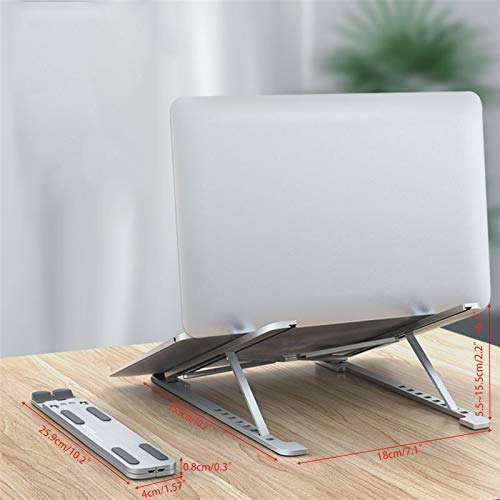 YYOBK Laptop Stands,Office Carts & Stands, Laptop Riser, Computer Stand For Laptop, Aluminum Foldable Laptop Stand For Desk,Suitable For 11-17.3' Laptops Notebooks (Color : Gray)