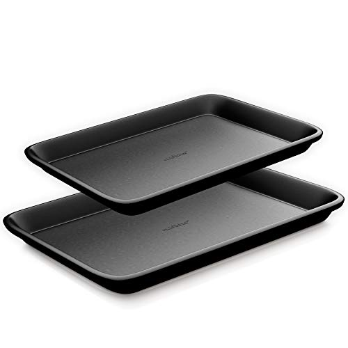 Non-Stick Cookie Sheet Baking Pans - 2-Pc. Professional Quality Kitchen Cooking Non-Stick Bake Trays w/ Black Diamond Coating Inside & Outside, Dishwasher Safe - NutriChef NC2TRBL