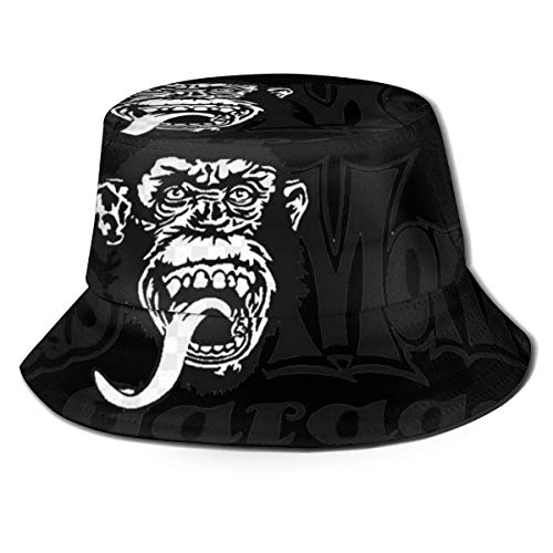 GGdjst Sombreros de Cubo, Gas Monkey Fisherman Beanie Black Fun One Size Sombrero De Sol Gorra Plana para Mujeres De Hombres