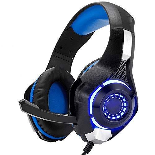 QJGhy Casque Audio Casque de Jeu Casque de Jeu Casque Intra-auriculaire Son stéréo avec lumières LED et Microphone insonorisé pour Les contrôleurs PS4, Xbox One, PC et Mac Casque Gamer
