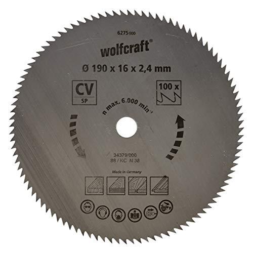 Wolfcraft 6275000 6275000-1 Hoja de Sierra Circular CV, 100 dient, Serie Azul diam. 190 x 16 x 2,4 mm, 190x16x2.4mm