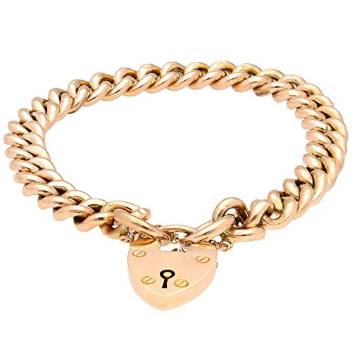 Jollys Jewellers Women's Vintage 9Ct Rose Gold 7.5' Hollow Curb Bracelet w/Heart Padlock Clasp (7mm Wide)