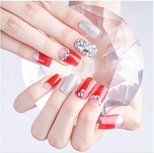 Copertura acrilica falsa completa per la stampa di etichette autoadesive Stampa acrilica su punte per unghie Adesivo per nail art finito 24 pezzi O