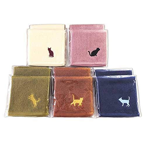 ネコ刺繍 タオルハンカチ ミニタオル ギフト ラッピング 5色10枚組(20×20cm)
