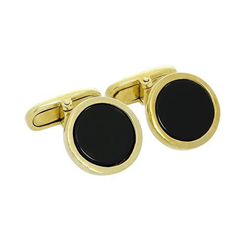Boutons de Manchette Rond Noirs en Or Jaune 9 Carats - A Tête Pivotante