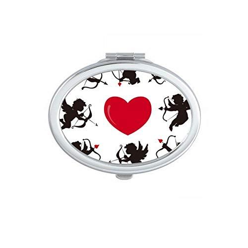 DIYthinker Cupidon Ange Coeur Rouge comination Motif Ovale Miroir de Maquillage Compact Portable Mignon Cadeau Miroirs de Poche à la Main Multicolore