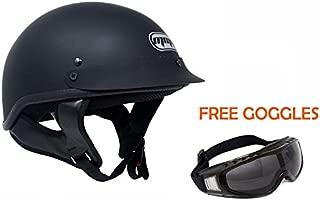 Motorcycle Half Helmet Cruiser DOT Street Legal – Flat Matte Black (Small)