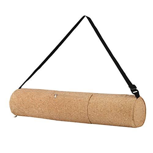 Profecus - Bolsa de yoga de corcho con correa ajustable, ligera bolsa de yoga de corcho natural, accesorio de yoga, bolsa de yoga con cremallera, bolsa de yoga y pilates, 100% reciclable