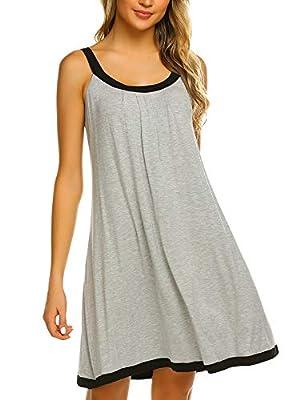 Ekouaer Chemise Sleepwear Dress Women's Scoop Neckline Sleeveless Sleeping Clothes Summer Wear (L.Grey Textile,XX-Large)
