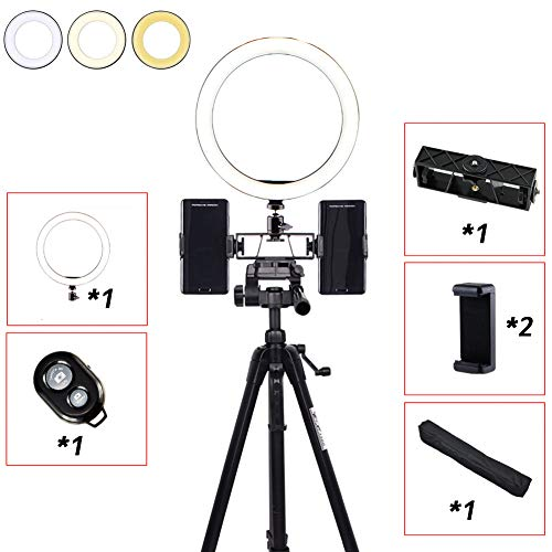 MOZX LED Ring Light with Tripod Stand, 10 Inch Selfie Dimmable Ring Light, 3 Color Modes and 3 Packages to Choose from, USB Powered, Heighten Hose, for Live Streaming Makeup Camera,Package 1