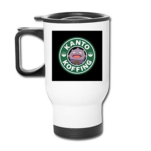 Monster of The Pocket Kanto Koffing Coffee 16 oz Vaso de acero inoxidable doble pared taza de café con tapa a prueba de salpicaduras para bebidas calientes y frías