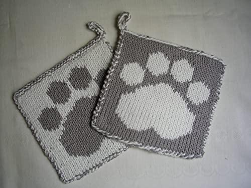Pfötchen Topflappen gestrickt in grau/weiß, anschmiegsam und gut isolierend
