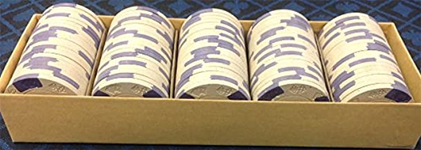 100 ASM CASINO QUALITY CLAY POKER CHIPS WHITE WITH A DIECARD MOLD