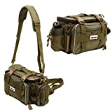 XBLACK Fishing Tackle Bags Portable Fishing Tackle Storage Bag Waterproof Lures Kit Waist Fishing Bag for Outdoor Fishing Hiking Camping Cycling (Army Green)