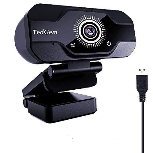 TedGem Webcam, PC Webcam Camera con Microfono USB Live Streaming Webcam per Videochiamate e Registrazione, Gaming, Piccola Flessibile Regolabile, Supporta Windows, Android, Linux