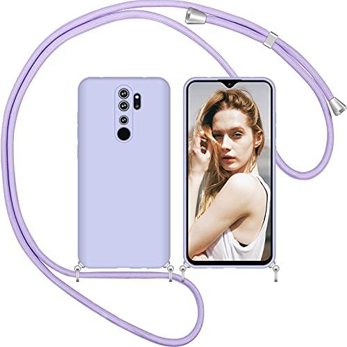 Nupcknn Funda Silicona con Cuerda para Xiaomi Redmi Note 8 Pro, Carcasa Suave Silicona Case con Correa Colgante Ajustable Collar Correa de Cuello Cadena Cordón (Morado)