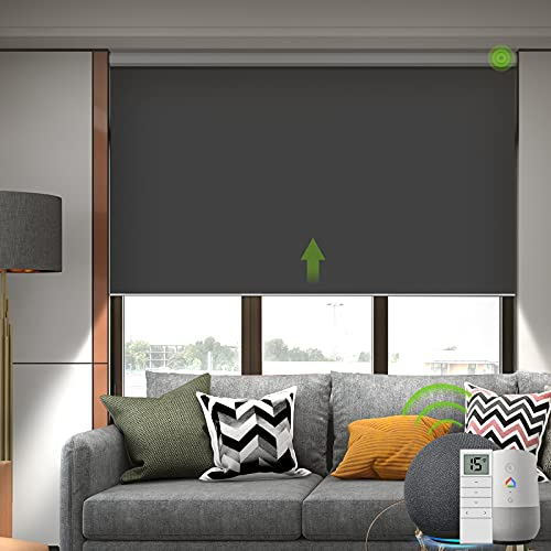 Yoolax Motorized Smart Blind for Window with Remote Control, Automatic Blackout Roller Shade Compatible with Alexa, Child Safety Rechargeable Battery Blind with Valance(Vinyl-Dark Grey)