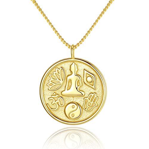 Buddha Lotus Allah Taiji Hamsa Hand Evil Eye Anhänger Halskette Sterling Silber in 14 Karat Gold Kette 40,6-43,2-45,7 cm
