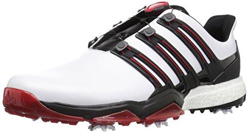 adidas Powerband BOA Boost Golfschuhe, Weiá (Weiß/Core Black/Scarlet), 49 EU