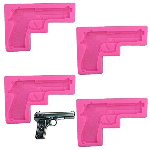 4 Pezzi Stampo 3D in Silicone a Forma di Pistola, NALCY Stampi per Forma di Pistola Silicone per Sapone Fai-Da-Te, Torte, Cupcake, Gelatine, Cioccolato, Stampo Decorativo Da Cottura Handgun