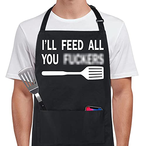 Xornis 100% Cotton Funny Apron I'll Feed All You with 2 Pockets Kitchen Cooking Adjustable Chef Aprons Gifts for Men Women Friends Brothers Father's Day Mother's Day