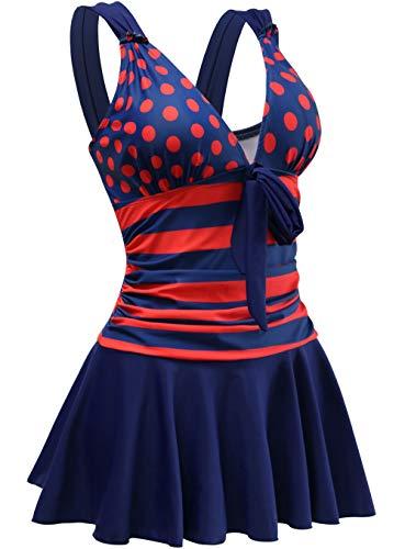 AONTUS Push Up Swim Dresses Skirt Ruffle Ladies' Monokini Plus Size Swimwear Swimsuits for Women