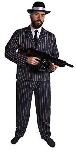 ULT 1920-talets GANGSTER FANCY klänning för män – svart & vit pinstrip-kostym jacka & byxor + svart slips + svart trillbyhatt med vit satinband + uppblåsbar tomgegeunge + fäst på spivmoUSTACHE av ILOVEFANCYDRESS® - Medium