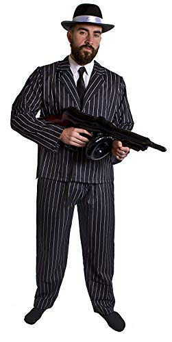 Volwassen 1920's gangster fancy dress kostuum voor mannen - zwart en wit krijtstreep pak jas & broeken + zwarte stropdas + zwarte trilby hoed met witte satijnen band + opblaasbare tommy gun + stok op spiv snor door ilovefancydress® in klein - xxl