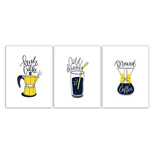 Wenjing Nordic Style Fashion Poster Afdruk Koffiekan Drankjes Mok Schilderen Canvas Home Decor Afbeeldingen Woonkamer Keuken Muurkunst -40X60Cmx3 Pcs Geen lijst