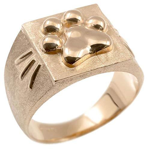 [アトラス]Atrus メンズ リング 18金 ピンクゴールドk18 ピンキーリング 猫 肉球 ヒゲ 幅広 地金 つや消し 印台 指輪 19号