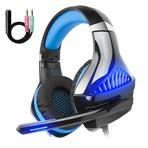 iKiKin Beexcellent GM-5 Gaming Kopfhörer Headset mit Mikrofon für PS4, Xbox One, PC, 3.5mm Over Ear Kopfhörer Stereo Bass LED-Licht Surround Sound (Blau)