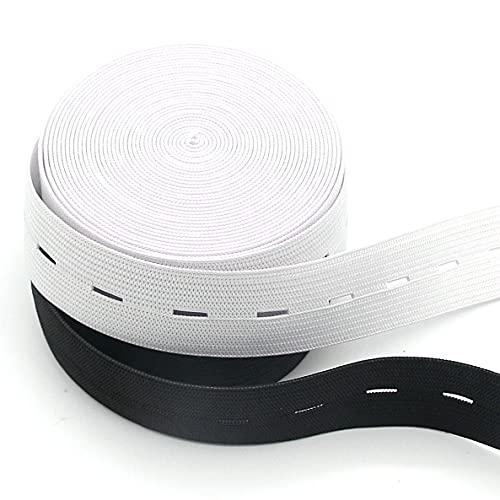 Buttonhole Elastic Band 5/8 inch 2 Roll x 5 Yard White&Black Knit Stretch Adjustable Braided Elastic roll Spool for Wigs, Underwear, Pants, Sportswear, Skirts, DIY Project Leekayer