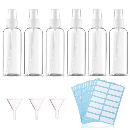 TheStriven Bote Spray Botella de Aerosol Vacío Conjunto de 21 Piezas Atomizador Recargable Transparente 60ml Recipientes Pequeños para Líquidos Recargables, Con Embudo y Papel de Etiquetas (60ml)