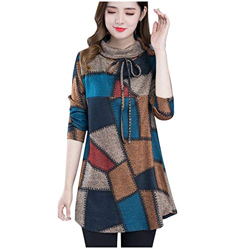 Masrin Frauen Tops Mode Plaid Print T-Shirt Langarm Rollkragenpullover Spitze Nähen Elegante Hemd Bluse(XXXL,Blau)