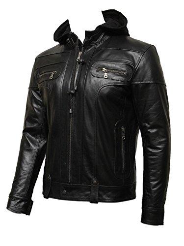 Brandslock Männer schwarz mit Kapuze Leder Biker Bomberjacke stilvollen Designer-Look (3XL, schwarz)