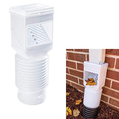 Downspout Debris Filter Strainer Gutter Leaf Guard Residential Connector, White