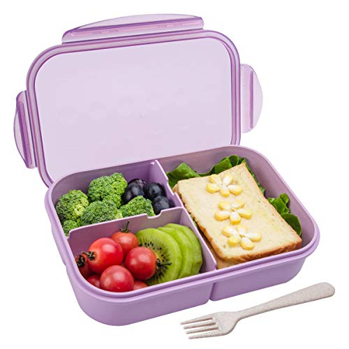 Bento Box,Bento lunch Box for Kids and Adults, Leakproof Lunch Containers with 3 Compartments, Lunch box Made by Wheat Fiber Material(Purple) By Itopor