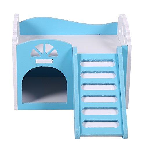 Hamsterhaus, Haus für Haustiere Hölzerne Plastikplatte Nagerhaus Holzhaus Zwei Schichten Mäuse Haus Haustier Kleintier Versteck Hamster House Eichhörnchen Igel Chinchilla Bed House Cage Nest (Blau)
