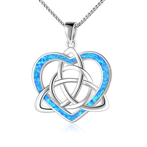 Celtic Love Knot Necklace Jewelry Sterling Silver Blue Opal Good Luck Vintage Triquetra Irish Celtic Love Heart Pendant Necklace for Women Girls (F Celtic Knot Necklace)