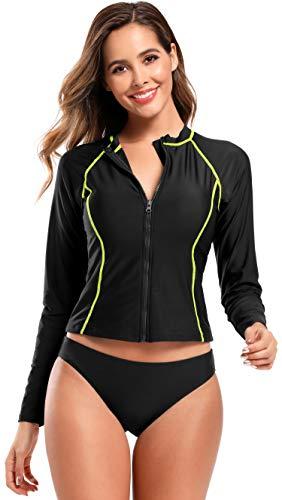 SHEKINI dames sportieve lange mouwen tweedelige bikini hoge nek voorzijde ritssluiting figuur vormend surfpak met gewatteerde UV-bescherming (UPF) 50+