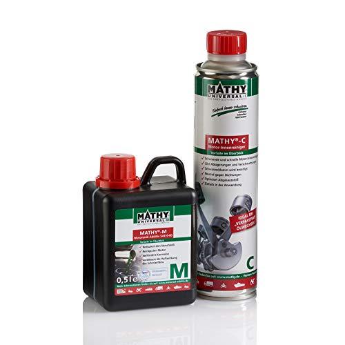 MATHY Motor Reinigungsset, 400 ml C Motorinnenreiniger + 500 ml M Motoröl Additiv - Ölzusatz - Motorspülung - TÜV geprüfter Verschleißschutz – Longlife Motorschutz