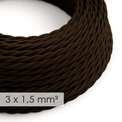 creative cables Cable electrico de sección Grande 3x1,50 Trenzado - Tejido Efecto...