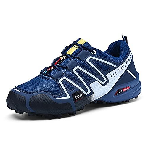CHUIKUAJ Calzado de Ciclismo para Hombre Calzado de Ciclismo Indoor Sin Candado,Zapatos de Ciclismo de Bicicleta de Montaña Impermeables,DarkBlue-40EU